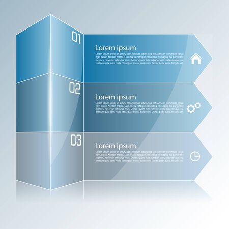 Modern colorful template in the form of a box and strips of paper can be used for infographic,  numbered banners,graphic or website layout vector, template for business reports. Vector