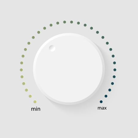 Vector volume music control with a scale from low to high, volume knob, for websites  Vector