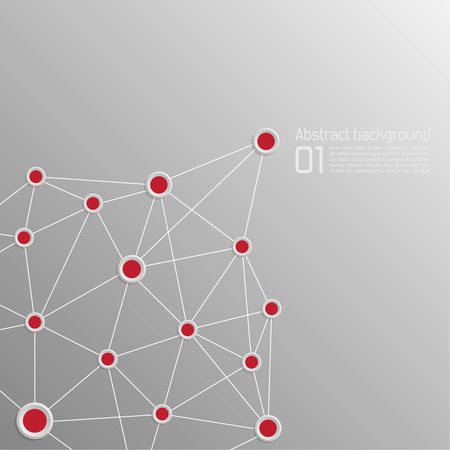 interconnected: Background with volume paper with red dots interconnected  Template for web, brochures, presentations, explanations, flyers, magazine, cover Illustration