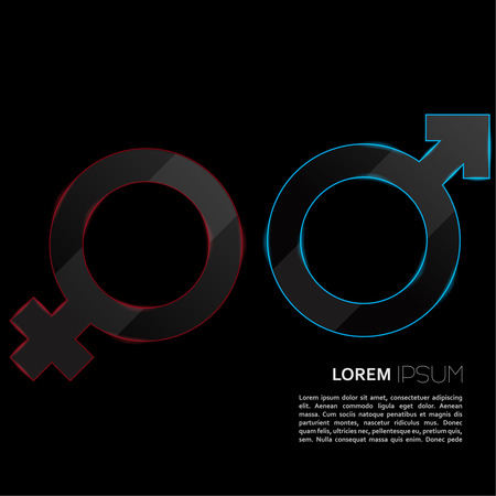 Luminous sign of the feminine and masculine beginning on a black background  Icon with empty space can be used for magazines, brochures, Internet websites Illustration