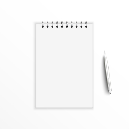 Blank notebook with pen. isolated on white.  Vector