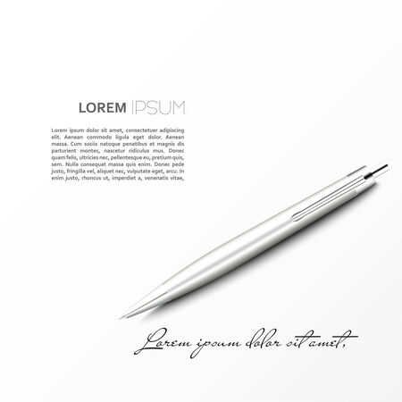 Silver Ballpoint Pen lying on the plane with shadow. isolated on white.  with space for text and signature. Vector Illustration  Vector