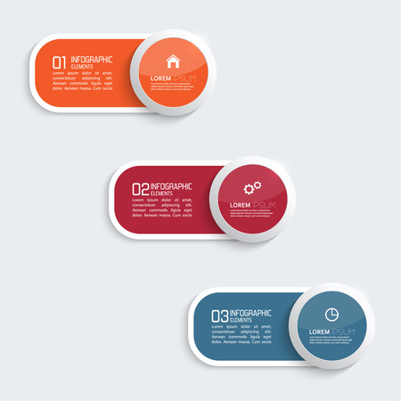 Glossy colorful  plastic buttons for infographic, numbered banners,graphic or website layout vector, template for business reports. orange, blue, red