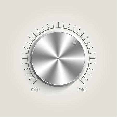 Metal vector volume music control with a scale from low to high, volume knob, for websites  Vector