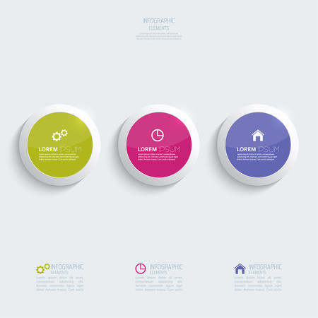 Glossy colorful  plastic buttons for infographic, numbered banners,graphic or website layout vector, template for business reports. violet, purple, green Illustration