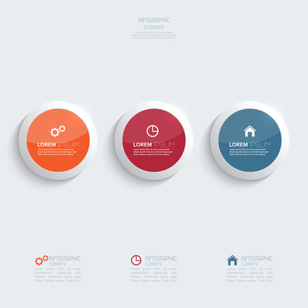 Glossy colorful  plastic buttons for infographic, numbered banners,graphic or website layout vector, template for business reports. orange, blue, red Vector