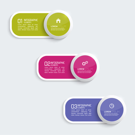 graphic design background: Glossy colorful  plastic buttons for infographic, numbered banners,graphic or website layout vector, template for business reports. violet, purple, green Illustration