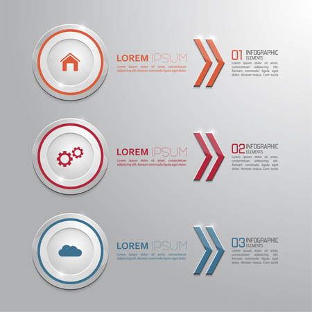 Modern shiny banner with numbers and signs.  for infographic, numbered banners,graphic or website layout vector, template for business reports. red, orange, blue Vector