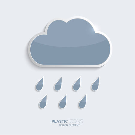 forecasts: Plastic icon clouds with rain drops. Sky blue color. Creative element for your Web site, the Internet, text, weather infographics, forecasts