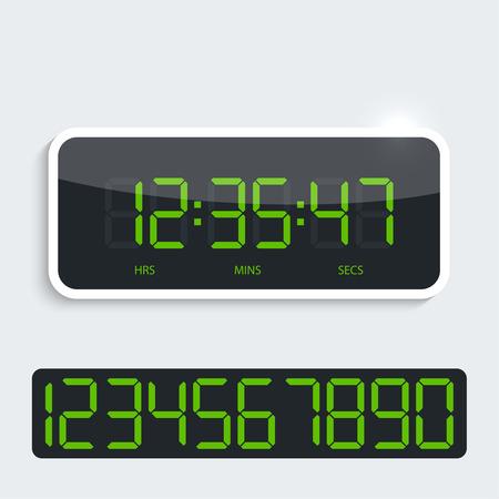 digital clock: Digital clock with shiny plastic panel. additional figures. Vector. Glossy modern design, dark display, the green numbers