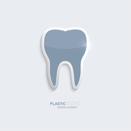 Plastic icon tooth symbol. Sky blue color. Creative element for your Web site, the Internet, text, infographics. Creativ design element Vector