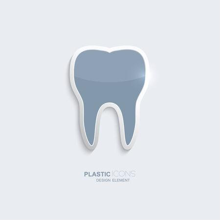 S�mbolo del icono del diente de pl�stico. De color azul cielo. El elemento creativo para su sitio web, Internet, textos, infograf�as. Creativ elemento de dise�o