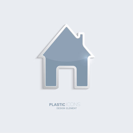 creativ: Plastic icon house symbol. Sky blue color. Creative element for your Web site, the Internet, text, infographics. Creativ design element