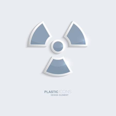 Plastic icon radiation symbol. Sky blue color. Creative element for your Web site, the Internet, text, infographics. Creativ design element Vector