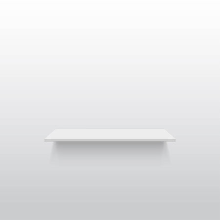 Empty white shelf on a gray wall with copy space  Vector