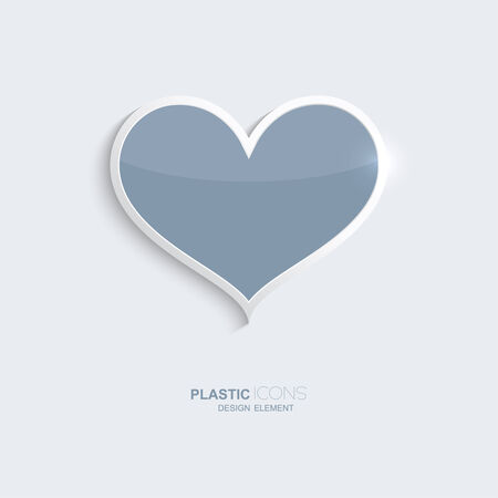 creativ: Plastic icon heart symbol. Sky blue color. Creative element for your Web site, the Internet, text, infographics. Creativ design element