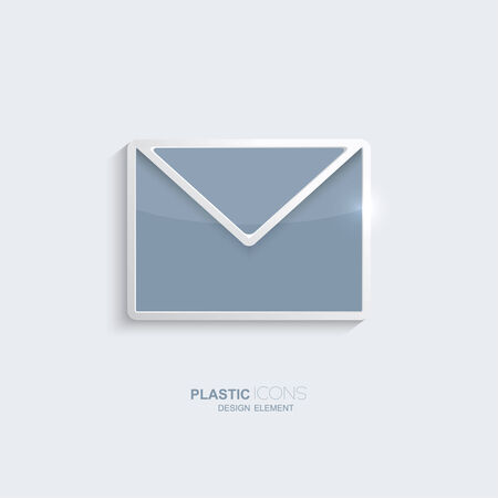 creativ: Plastic icon email symbol. Sky blue color. Creative element for your Web site, the Internet, text, infographics. Creativ design element