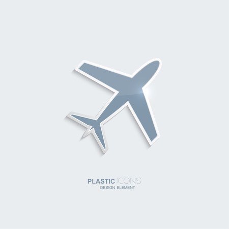Plastic icon airplane symbol. Sky blue color. Creative element for your Web site, the Internet, text, infographics. Creativ design element Vector