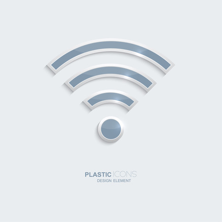 creativ: Plastic icon symbo wi-fi  zonel. Sky blue color. Creative element for your Web site, the Internet, text, infographics. Creativ design element