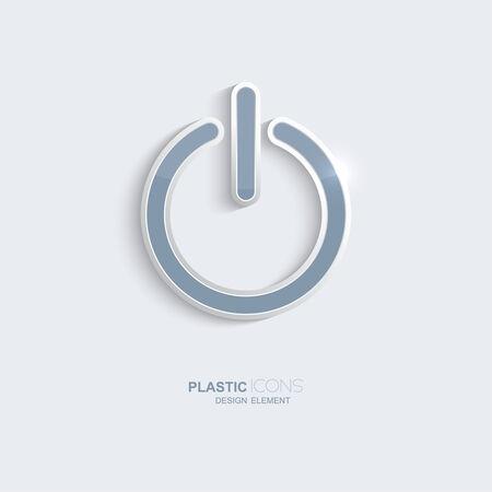 Plastic icon Power symbol. Sky blue color. Creative element for your Web site, the Internet, text, infographics. Creativ design element Vector