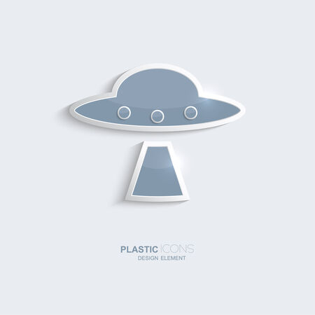 creativ: Plastic icon ufo symbol. Sky blue color. Creative element for your Web site, the Internet, text, infographics. Creativ design element