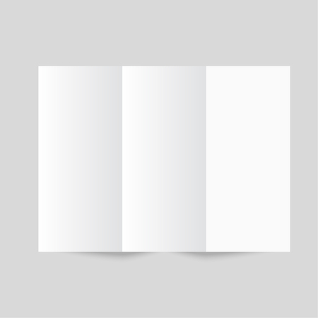 White stationery: blank trifold paper brochure on gray background. Cover for your design