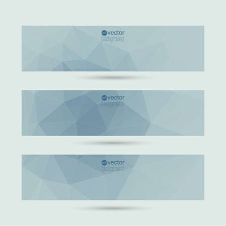 Set of vector banners with triangles and geometric shapes. For websites, internet, paper stickers, labels, background for your mobile phone Vector