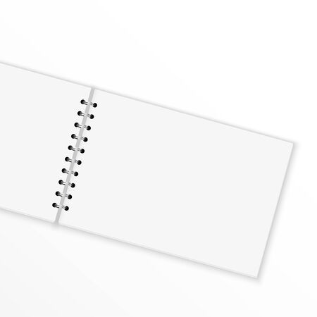 angled: Blank notebook with blank place for text and notes. isolated on white. Extended and angled Illustration