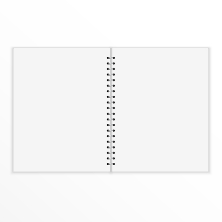 open notebook: Blank notebook with blank place for text and notes. isolated on white. Open and empty