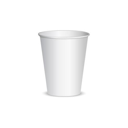 Aprire bianco tazza di carta per il caffè. isolato su sfondo bianco