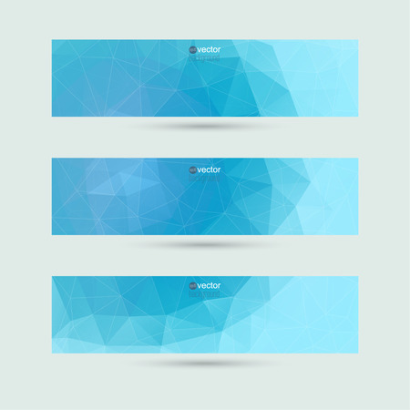 Set of vector banners with triangles and geometric shapes. For websites, internet, paper stickers, labels, background for your mobile phone