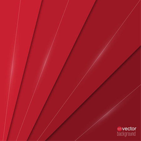 Abstract background of red paper strips and glowing lines.  Cover for different design. Vector.