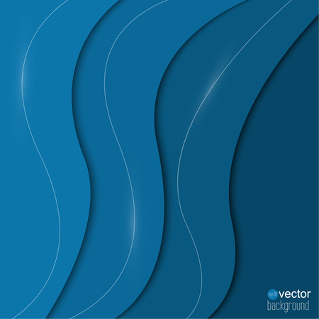 Abstract background of blue paper strips and glowing lines.  Cover for different design. Vector.