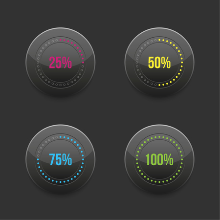 set of round progress bar element with multicolored scales download.  Vector