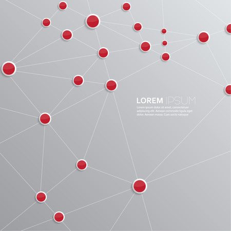 interconnected: Background with plastic buttons with red dots interconnected. Template for web, brochures, presentations, explanations, flyers