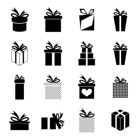 giving gift: Set of icons with a variety of gift box and ribbons.