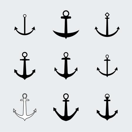 ancla: Establecer anclas iconos. Elementos de la vendimia para un diseño diferente Vectores