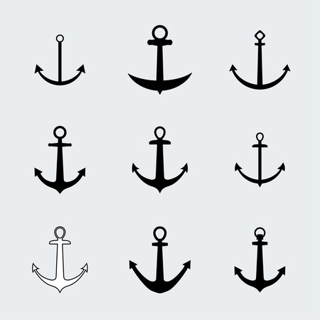 Set anchors icons. Vintage elements for different design Vector