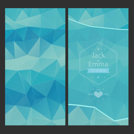 Wedding invitation in a modern style with geometric elements, the old frame.  Vector