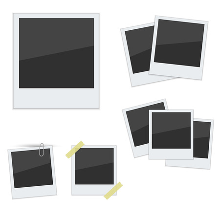 Set Polaroid photo frames on white background.Vector.