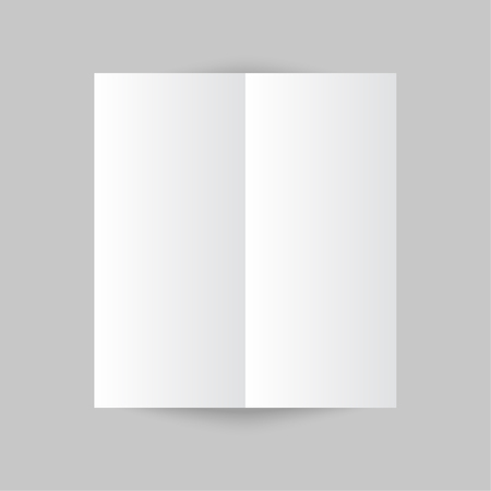 White stationery: blank trifold paper brochure on gray background. Cover for your design Vector