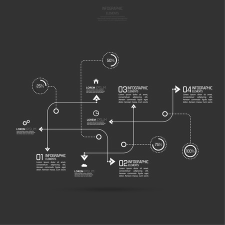 curved path: Crossed and dotted curved path intersecting rectangles for infographic, numbered banners,graphic or website layout template for business reports.  Illustration