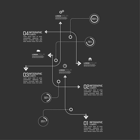 curved path: Crossed and dotted curved path intersecting rectangles for infographic
