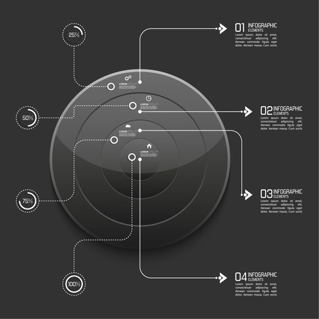 Glossy modern black plastic button with pointer for infographic Vector