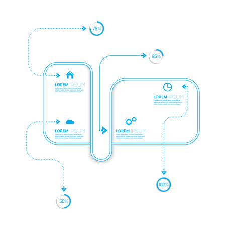 Crossed and dotted curved path intersecting rectangles for infographic Vector