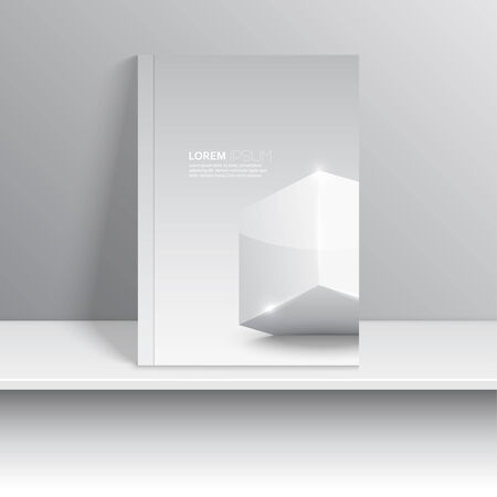 Magazine cover standing on a shelf with gray shadows. Surround a glowing cube with shadow.   Vector