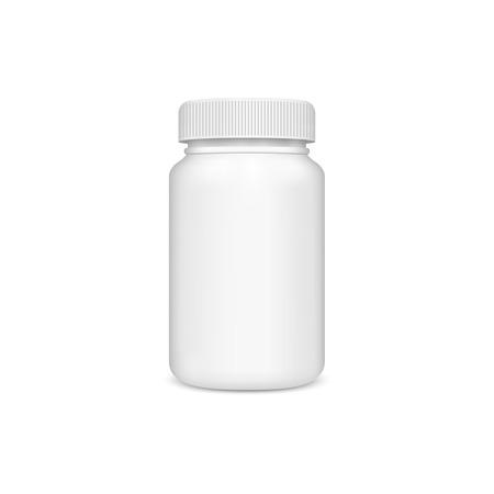 白い背景の上ふた付きプラスチック瓶。