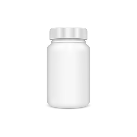 pills bottle: Plastic jar with the lid on a white background.  Illustration