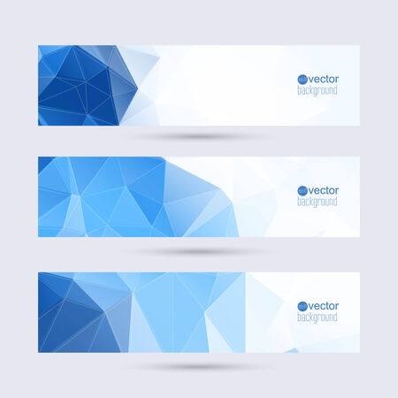 footer: Set of banners with triangles and polygon mesh. Illustration