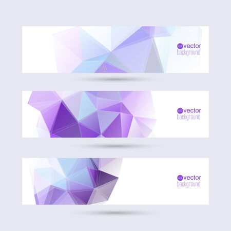 Set of banners with triangles and polygon mesh.  Vector